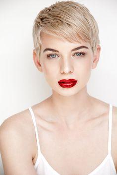 Gamine Makeup Model: Antoinette Bonbon Dark Red lips. Blue eyes. Love this lipstick!