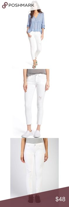 FREE PEOPLE Sz 26 Feather Print Skinny Ankle Crop DENIM COMBO Blue Jeans NWT $88