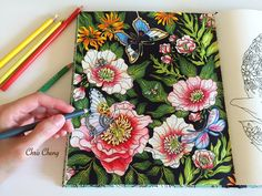 """Colorvscolour: """"The Peony"""" - Colored Pencils Coloring (Part 3) from Daydreams by Hanna Karlzon; time 25:42; Mar 11, 2016"""