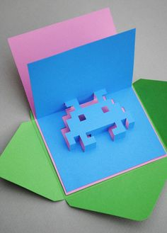 All your crafts are belong to us with this adorbs pixelated pop-up card #DIY!