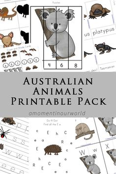 Australia has some very unique animals such as the platypus and the echidna. In this Australian Animals Printable Pack, you will meet with 12 of them. The animals included in this pack are: The koala, kangaroo, echidna, wombat, possum, platypus, red-backed spider, bandicoot, brown snake, dingo, frilled-neck lizard, numbat, Tasmanian devil and fruit bat. This printable pack …
