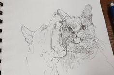 Кошка с собакой.  #drawing #illustration #portrait #sketch #pencil #sketchbook #art #artwork #painting #eskiz #topcreator #портрет #рисунок #карандаш #набросок #эскиз