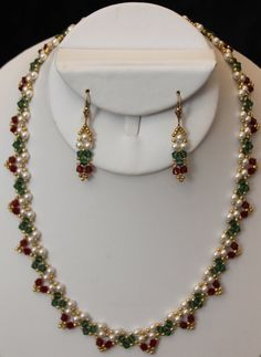 Swarovski Crystal Necklace & Earring Set by AngelWhispersJewelry Bead Jewellery, Seed Bead Jewelry, Beaded Jewelry, Seed Beads, Diy Necklace, Fashion Necklace, Fashion Jewelry, Swarovski Crystal Necklace, Swarovski Crystals