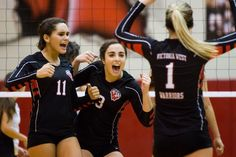 September 24, 2013 MASON TRINCA/MTRINCA@VICAD.COM • Buy This Photo Senior outside hitter Kate Klimist (13) celebrates with her teammates after a successful block in a 3-0 victory against the Calhoun Sandcrabs at Victoria West High School. Victoria West, West High School, Photos Of The Week, Victorious, The Outsiders, September, Celebrities, Fashion, Moda
