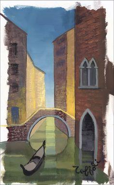 """Louis TOFFOLI - Peinture originale à la gouache """"Venise, le grand canal""""…"""