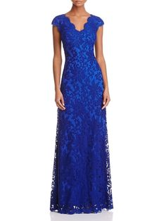 Tadashi Shoji Cap Sleeve Lace Gown - Exclusive Back to Results - Women - Dresses - Evening & Formal Gowns - Bloomingdale's Unique Formal Dresses, Formal Gowns, Simple Dresses, Formal Wear, Tadashi Shoji, Mother Of The Bride Dresses Long, Mob Dresses, Wedding Dresses, Moda Casual