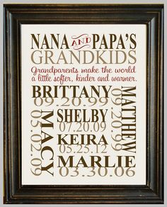 Personalized GRANDPARENT PRINT - with Grandchildren's Names and Birthdates - Completely Customizable - Christmas Gift. Lots of great designs on this site.