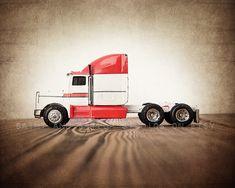 Red and White Semi Truck, #homedecor #wallart #photoprints #canvasprints #saintandsailor #photography #boysroom #vintage #boysnursery #rustic #trucks #bedroomdecor #playroom