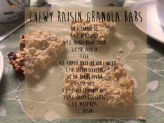 Chewy Raisin Granola Bars from Fit2Be http://fit2behealth.blogspot.com/2013/10/healthy-homemade-granola-bars.html