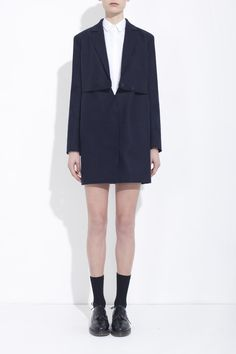 NAVY BLUE RECYCLED WOOL CABAN COAT  honestby.BRUNO PIETERS