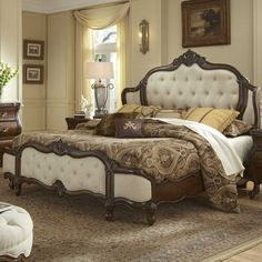 AICO Lavelle Melange California King Wing Mansion Bed by Michael Amini AI-54000MCKW3-34