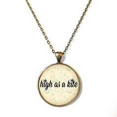 Marijuana Leaves high as a kite Necklace - Pop Culture Jewelry - Funny Weed Druggie Pendant on Etsy, $15.00