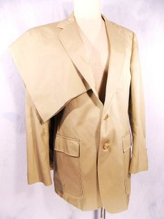 Ed Mitchell Suit Sz L 42 Tan Cotton Bespoke Westport Vtg 80s Mens USA Flat Front