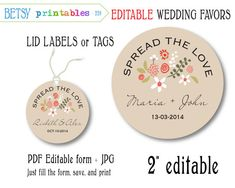 Mason jar Wedding favor for jam, editable tags, editable labels, printable lid, digital label -  Instant Download 228 on Etsy, $3.26 AUD
