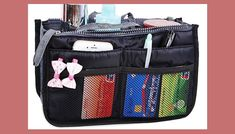 JET-BOND(TM) Nylon Handbag Insert Pouch Organizer Large Liner Purse with Zippers Handles Multi-function Cosmetic Storage Foldable Tote Inner Bag (Black) Best Handbags, Large Handbags, Handbag Organization, Handbag Organizer, Nylons, Jet, Insert, Cosmetic Storage, Coach Purses