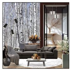"""""""White Birch"""" by suelb ❤ liked on Polyvore featuring interior, interiors, interior design, home, home decor, interior decorating, Barbara Cosgrove, Middle Kingdom, Tolix and Allstate Floral"""