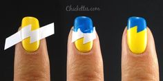 How to use French tip sticker guides to make lightning nails by Chickettes...