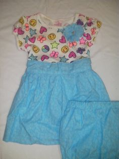 T-Shirt Dress with Fun Things Printed Top and a Turquoise Bottom with Matching Bloomers - size 3T by anncraftcorner on Etsy