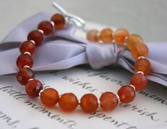 Carnelian Bracelet graduated shades Sterling toggle by kari1121, $32.00