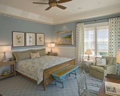 Blue Bedroom Walls White Trim And Beadboard Contemporary By Bruce Palmer Interior Design