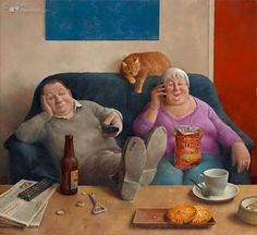 Marius van Dokkum, Dutch Artist and Illustrator. This just hits too close to home :) Art And Illustration, Illustrations, Dutch Painters, Dutch Artists, Naive Art, Couple Art, Funny Art, Figure Painting, Cat Art