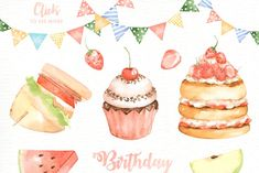 Ad: Birthday Party Watercolor Cliparts by everysunsun on The set of high quality hand painted watercolor Birthday party elements. A Bunny, cake, cupcake, balloons and other birthday elements are Birthday Snacks, Birthday Parties, Birthday Invitations, Wedding Invitations, Graphic Illustration, Graphic Art, Illustrations, Frame Template, Balloons