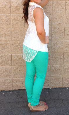 Neon Jade Skinny Jeans