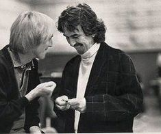 Tom Petty and George Harrison -captured the moment between good friends. Tom Petty, George Harrison, Liverpool, Beverly Hills, Travelling Wilburys, Jeff Lynne, Les Beatles, The Fab Four, My Favorite Music