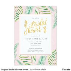 Tropical breeze bridal shower invitations dohl pinterest tropical bridal shower invitations in pink gold filmwisefo