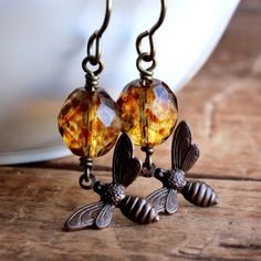 Honey Bee Earrings with Golden Czech Glass Beads  by JarosDesigns, $23.00
