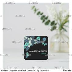 Shop Modern Elegant Chic Black Green Teal Blue Floral Square Business Card created by LeonOziel. White Chic, Elegant Chic, Teal Blue, Colorful Backgrounds, Business Cards, Stationery, Things To Come, Floral, Green