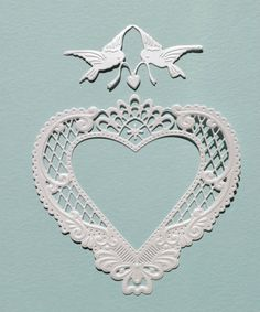 Marianne Die Cuts *PEARLESCENT FRESH WHITE Anja's Filigree Heart & Lovebirds*