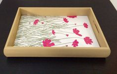 Wood decorative tray with pink flowers citrine by CEWcrafts