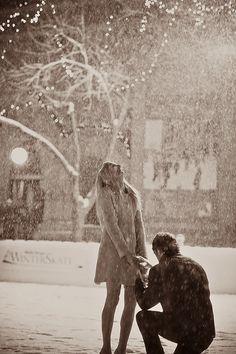 A romantic rainy proposal