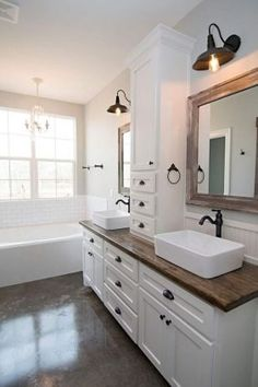 Easy Ways To Love Your Home; Farmhouse Bathroom Decor Ideas As far as home-improvement projects go, it's not the scale of the changes that you make. Bathroom Renos, Bathroom Renovations, Bathroom Interior, Modern Bathroom, Small Bathroom, Best Bathrooms, Bathroom Pics, All White Bathroom, Bathroom Beach