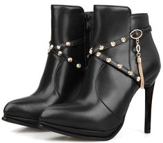 Summerwhisper Women's Sexy Rivets Cross Strap Pointed Toe Stiletto High Heels Size Zipper Platform Short Boots => Remarkable product available now. : Western boots