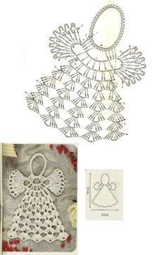 As Receitas de Crochê: Gráficos de anjos de croch crochetelements - Her Crochet Crochet Thread Patterns, Crochet Snowflake Pattern, Crochet Leaves, Christmas Crochet Patterns, Holiday Crochet, Crochet Snowflakes, Crochet Motif, Crochet Designs, Crochet Stitches