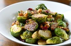 Roasted Brussels Sprouts, Walnuts and Cranberries Recipe at Life's Ambrosia
