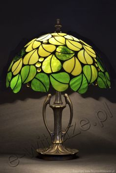 Louis Comfort Tiffany Studios New York Green Leaves,small table lamp, handcrafted by Wieniawa-Piasecki Workshop www.e-witraze.pl