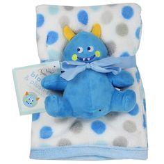 Little Beginnings Baby Coral Fleece Blanket w/Stuffed Toy Blue