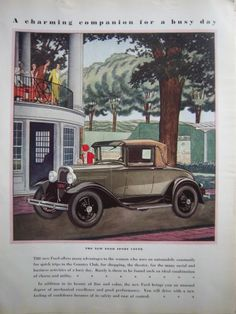 1930 New Ford Sport Coupe Car Vintage Color ad