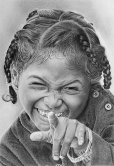 Graphite pencil portrait of a cheeky Madagascan girl on Daler Rowney Airbrush Bristol board. Pencils: Various Mars Lumograph to Faber. Pencil portrait of a cheeky Madagascan girl Amazing Drawings, Realistic Drawings, Beautiful Drawings, Beautiful Artwork, Pencil Portrait, Portrait Art, Drawing Sketches, Pencil Drawings, Pencil Art