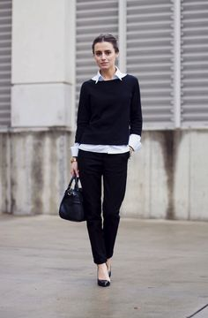 Tomboy chic. Audrey pants , pullover crewneck sweater, and button down white blouse
