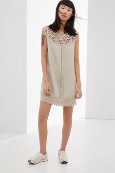 Vestido con detalles de crochet - vestidos | Adolfo Dominguez shop online