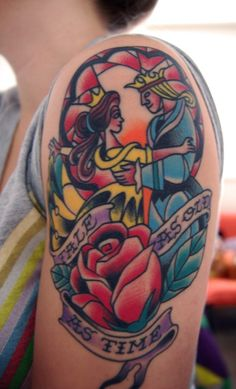This Beauty and the Beast tattoo was done by Danny Reed at his shop Hot Stuff Tattoo, in Asheville, NC.