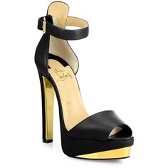 Christian Louboutin Tuctopen Leather Ankle-Strap Platform Sandals ($1,150) ❤ liked on Polyvore featuring shoes, sandals and apparel & accessories