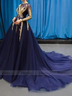 Royal Blue Long Sleeve Prom Dresses Gold Quinceañera Dress FD1382 – Viniodress