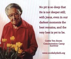 My favourite quote by Corrie Ten Boom ~ She helped some Jews avoid concentration camps. Late in life, she spoke to crowds about how to love your enemies (including a former camp guard she forgave). Quotable Quotes, Wisdom Quotes, Bible Quotes, Bible Verses, Me Quotes, Scriptures, Faith Quotes, Religious Quotes, Spiritual Quotes