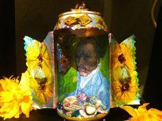 Altered aluminum can Vincent Van Gogh shrine by MonicavanderMars, $ 49.00