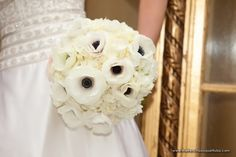 Romantic Anemone and White Hydrangea Bridal Bouquet - The French Bouquet - Artworks Tulsa Photography